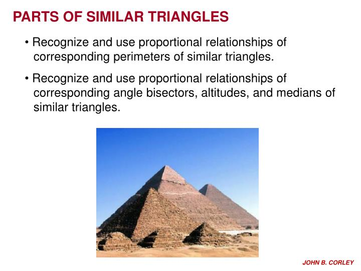 PPT PARTS OF SIMILAR TRIANGLES PowerPoint Presentation