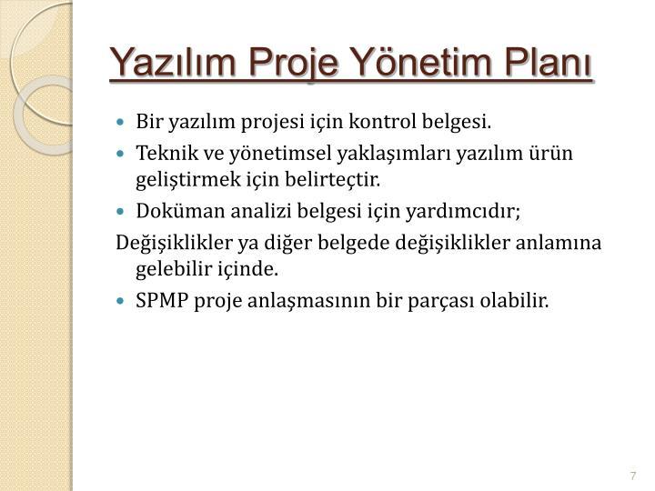 Yazılım Proje Yönetim Planı