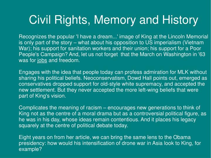 Civil Rights, Memory and History