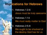impl ications for hebrews
