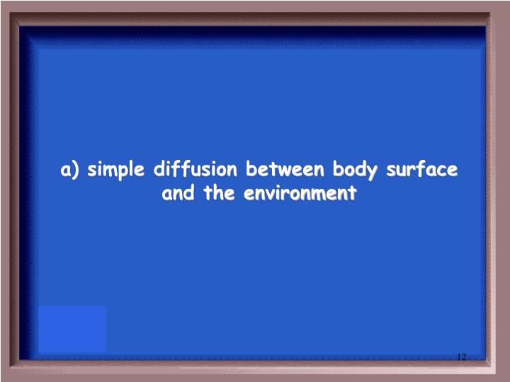 a) simple diffusion between body surface and the environment