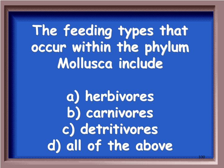 The feeding types that occur within the phylum Mollusca include