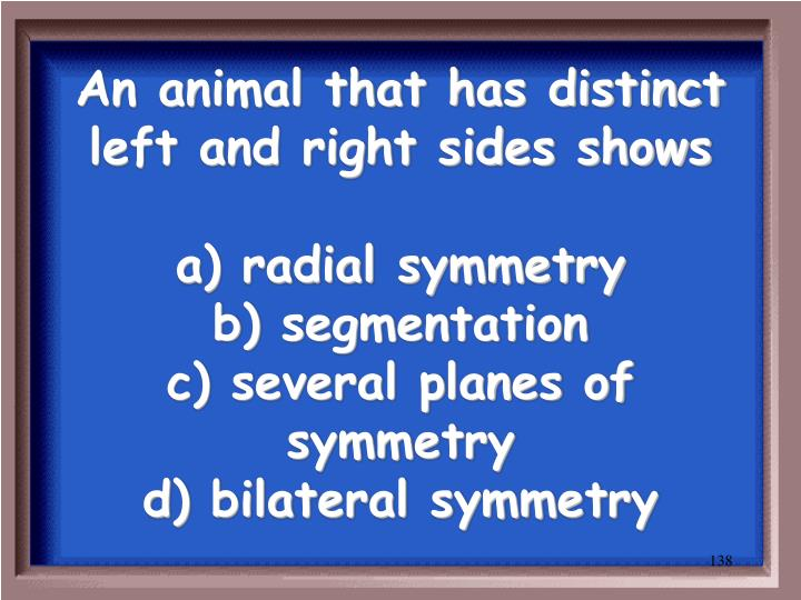 An animal that has distinct left and right sides shows