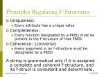 principles regulating f structures