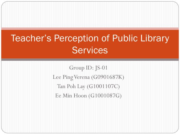 teacher s perception of public library services n.