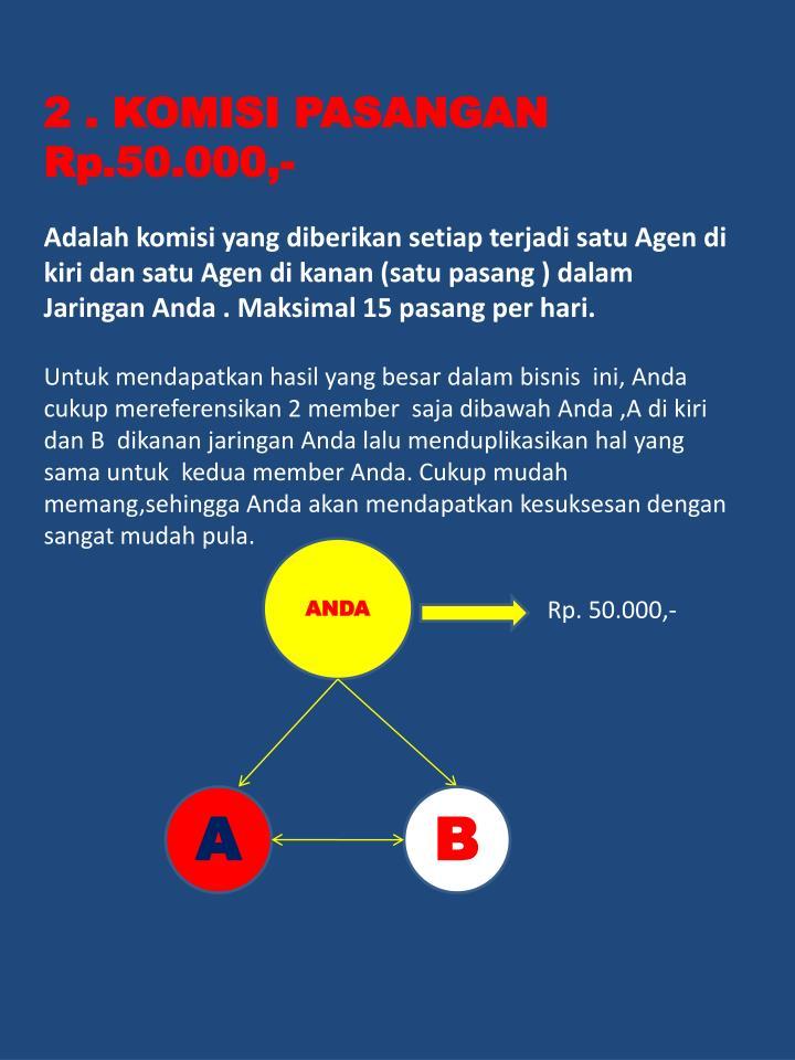 2 . KOMISI PASANGAN Rp.50.000,-