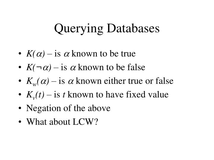 Querying Databases