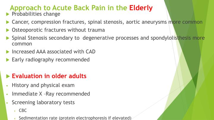 Approach to Acute Back Pain in the