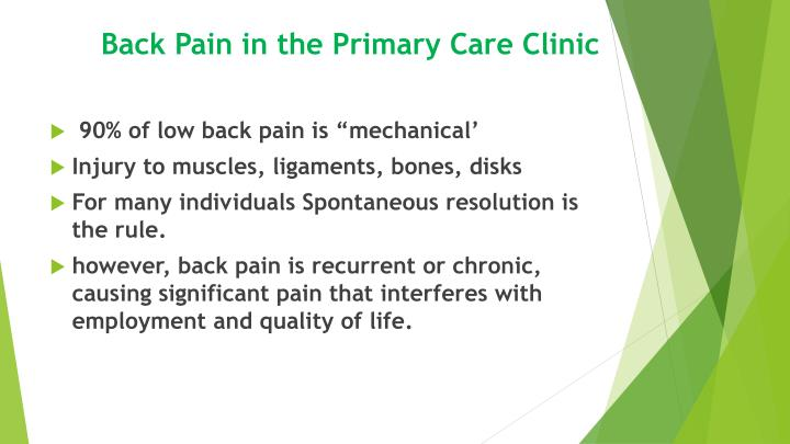 Back pain in the primary care clinic