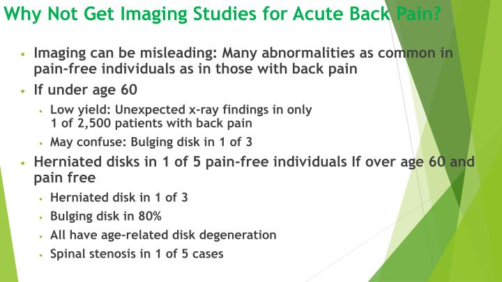 Why Not Get Imaging Studies for Acute Back Pain?