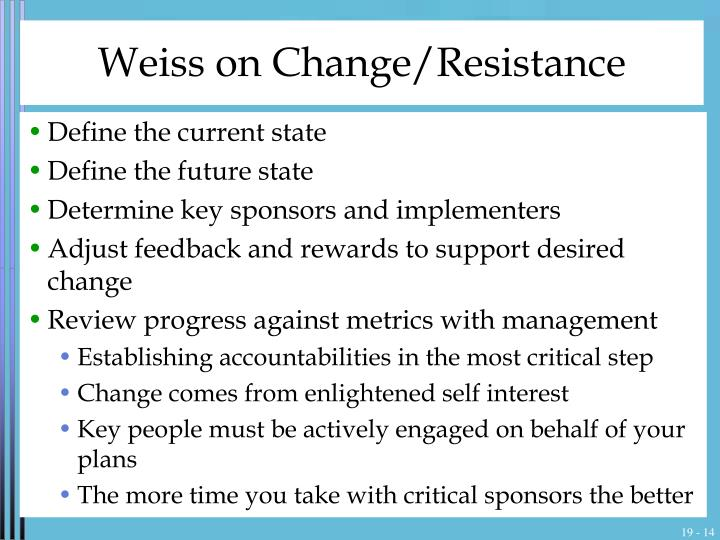 Weiss on Change/Resistance