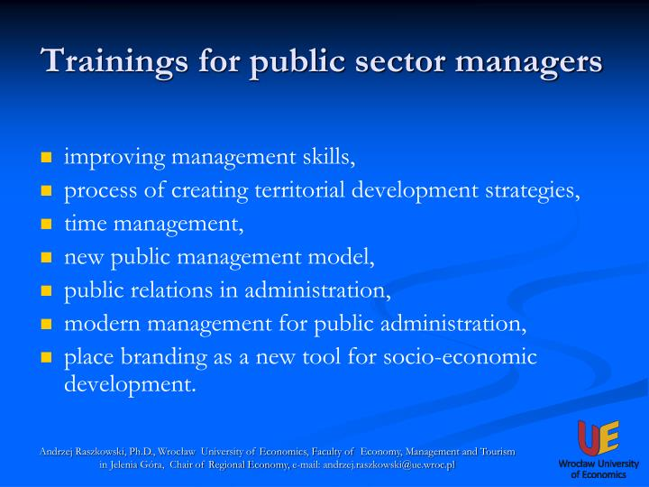 Trainings for public sector managers