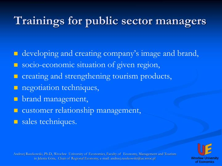 Trainings for public sector managers1