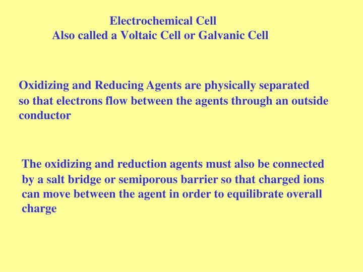 Electrochemical cell also called a voltaic cell or galvanic cell
