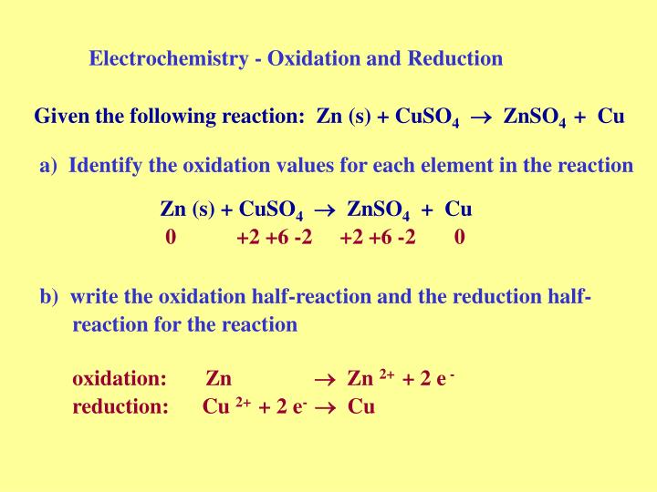 Electrochemistry oxidation and reduction