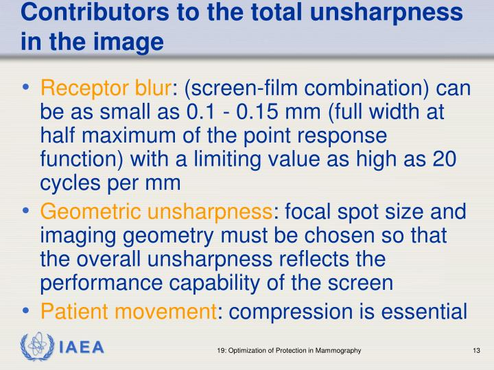 Contributors to the total unsharpness in the image