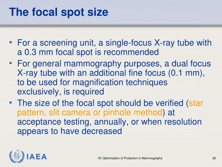 The focal spot size