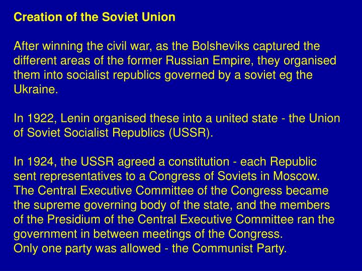Creation of the Soviet Union