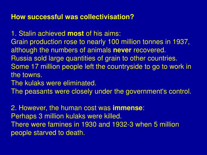 How successful was collectivisation?