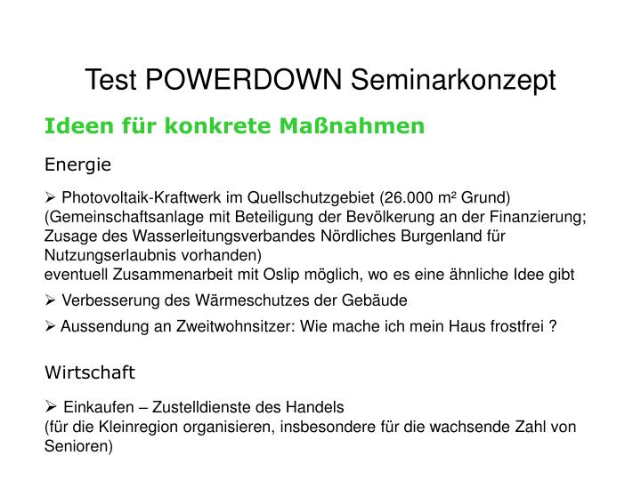 Test POWERDOWN Seminarkonzept