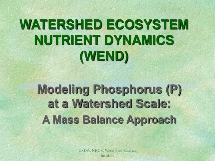 watershed ecosystem nutrient dynamics wend n.
