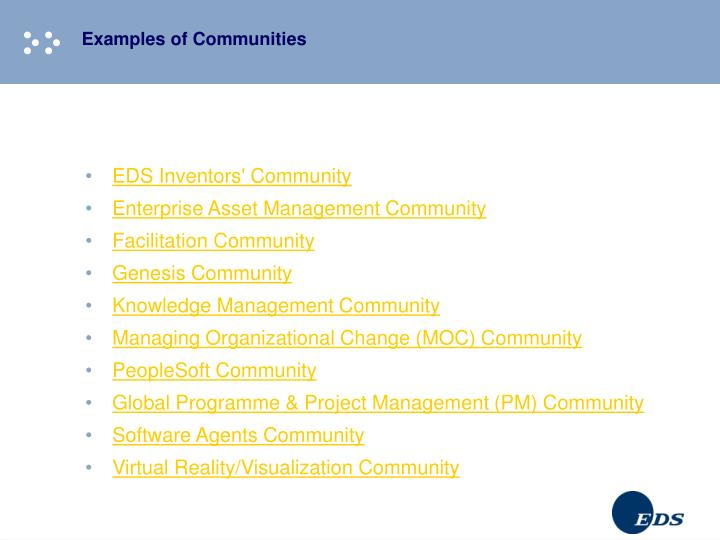 Examples of Communities