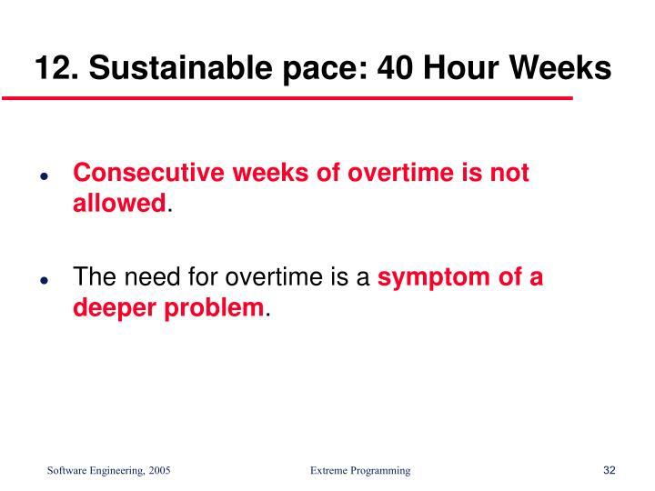 12. Sustainable pace: 40 Hour Weeks