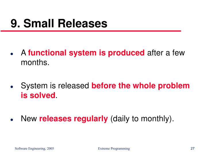 9. Small Releases