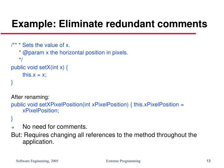 Example: Eliminate redundant comments