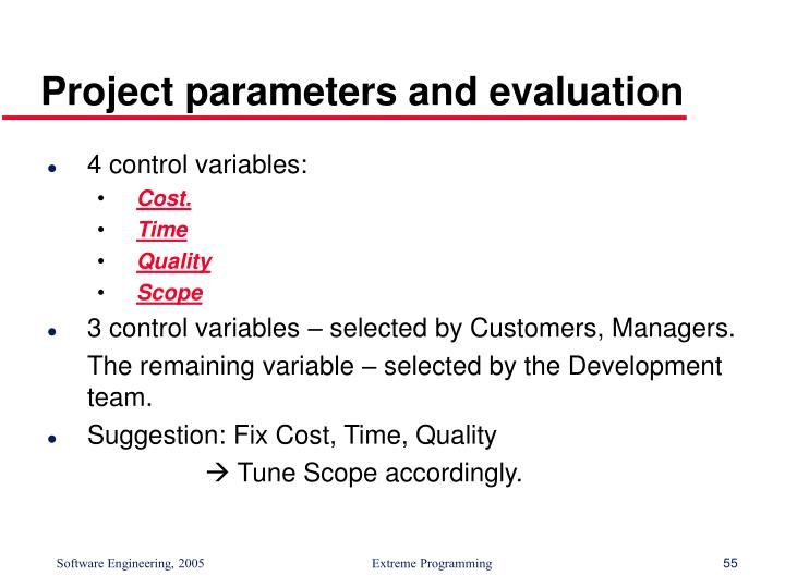 Project parameters and evaluation