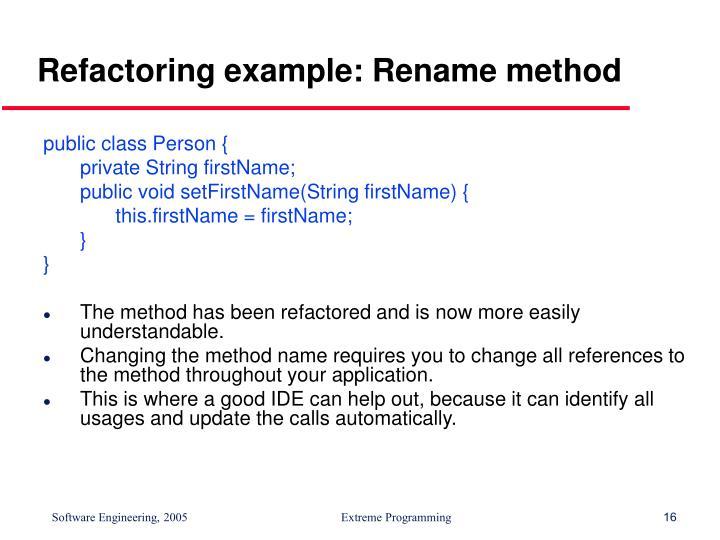 Refactoring example: Rename method