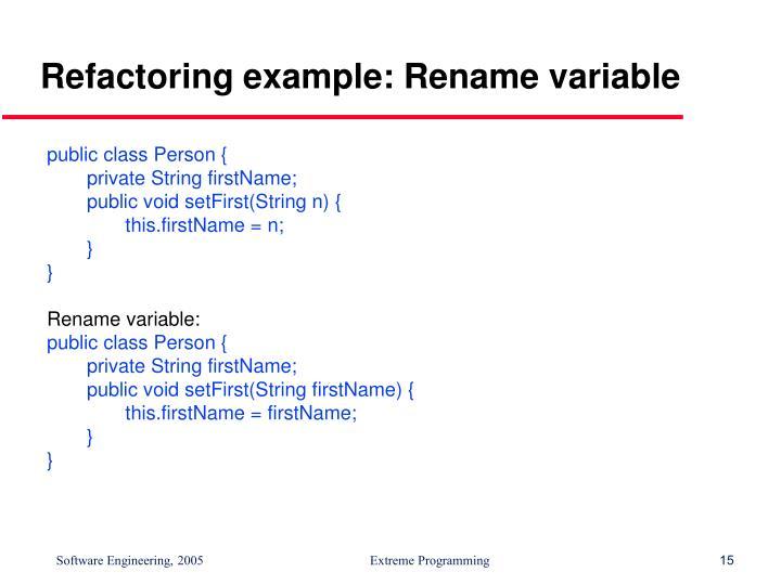 Refactoring example: Rename variable