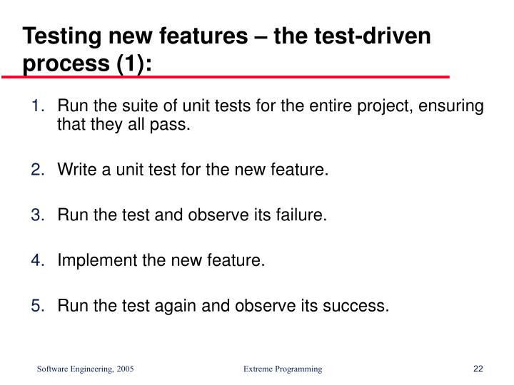 Testing new features – the test-driven process (1):