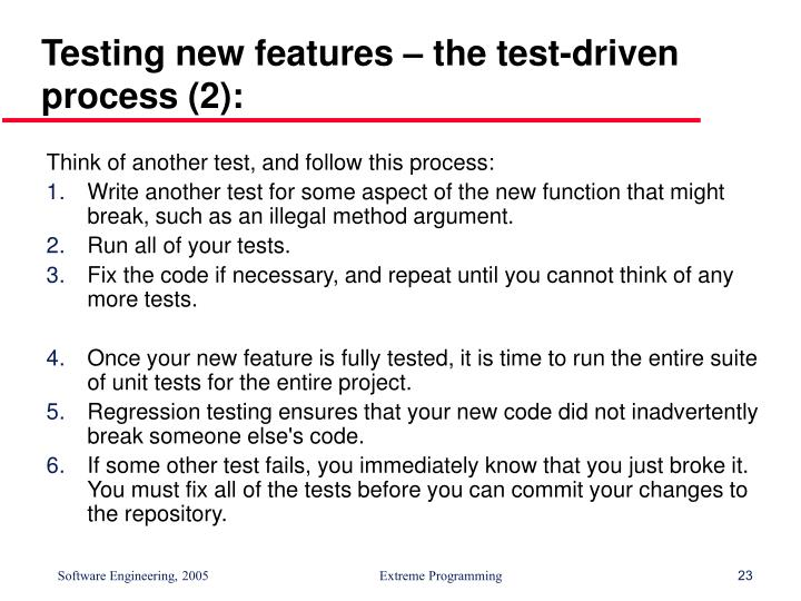 Testing new features – the test-driven process (2):