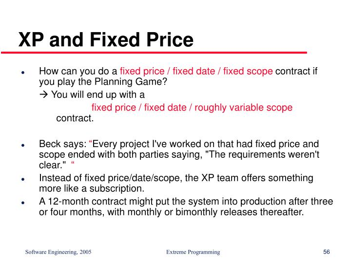 XP and Fixed Price