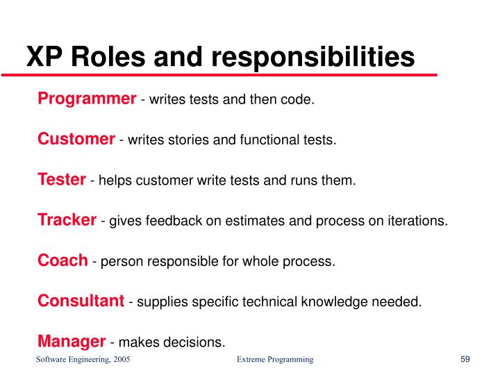 XP Roles and responsibilities