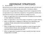 defensive strategies