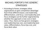 michael porter s five generic strategies