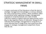 strategic management in small firms