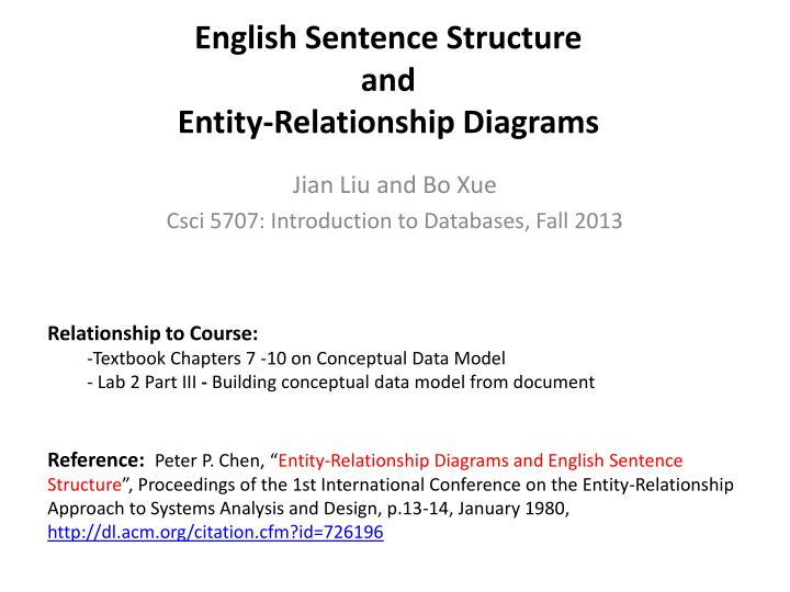 Ppt english sentence structure and entity relationship diagrams english sentence structure and entity relationship diagrams relationship to course ccuart Gallery