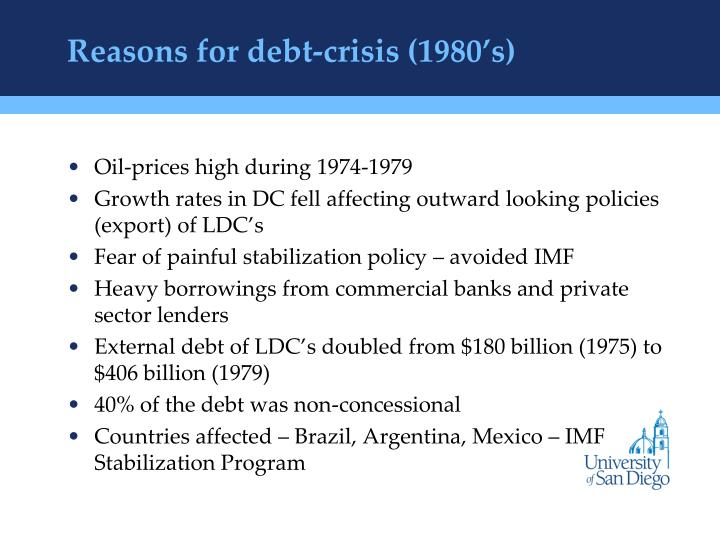 Reasons for debt-crisis (1980's)