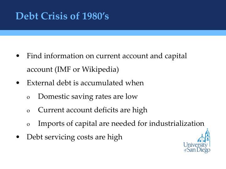 Debt Crisis of 1980's