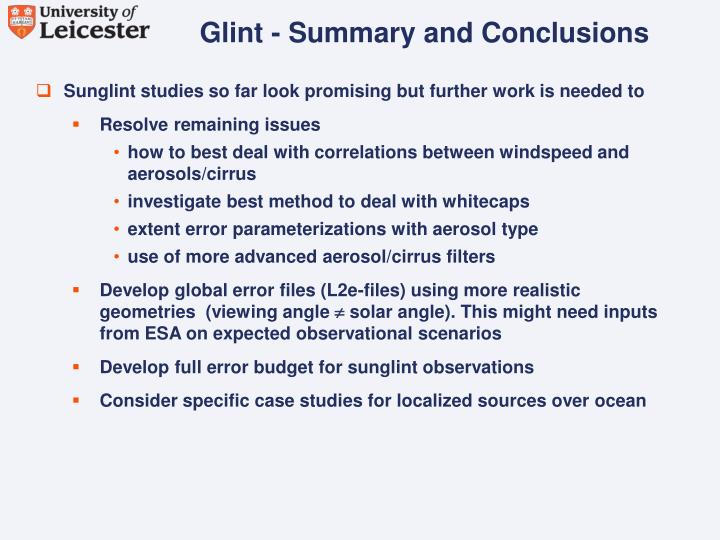 Glint - Summary and Conclusions