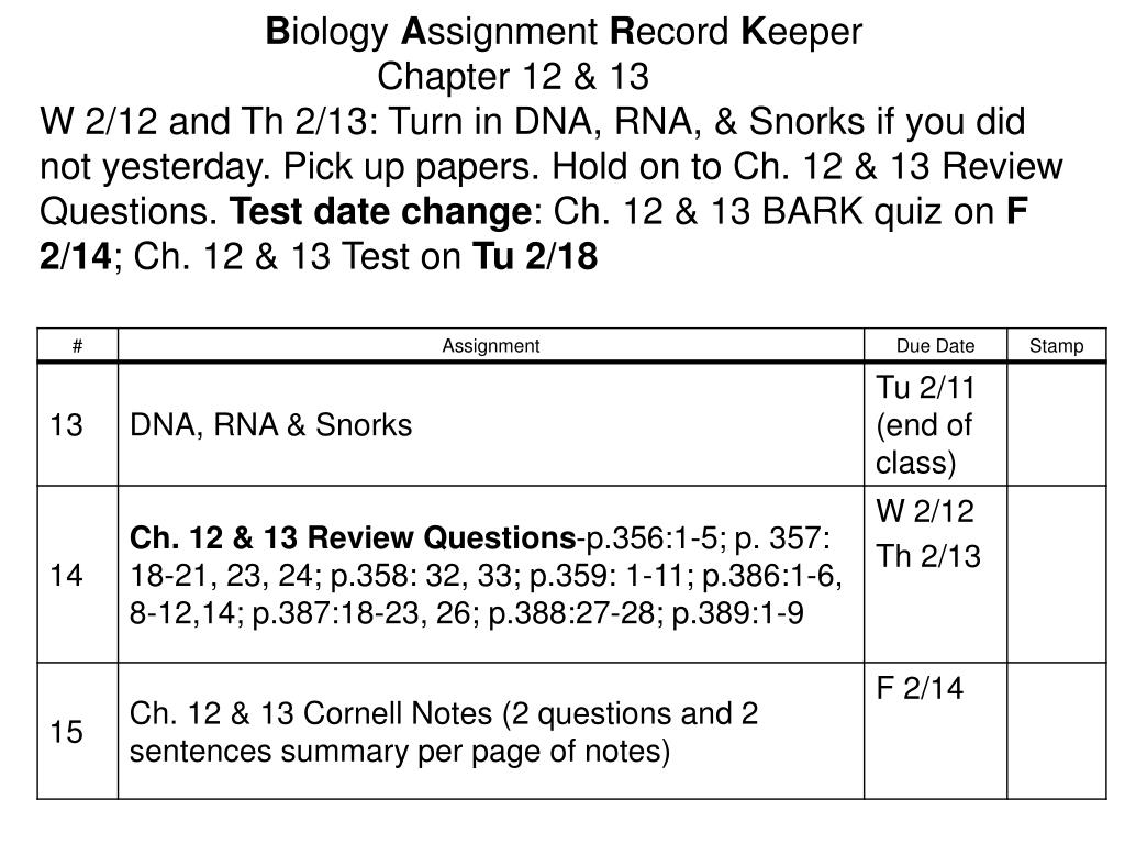 PPT - B iology A ssignment R ecord K eeper Chapter 12 & 13