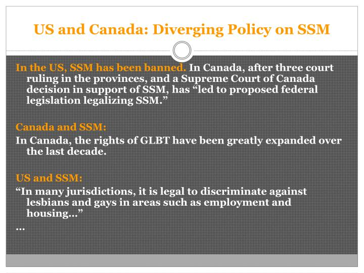 Us and canada diverging policy on ssm