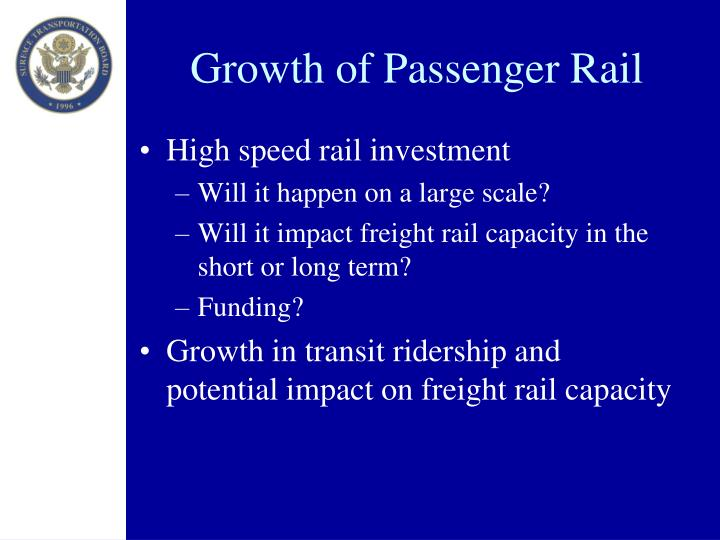 Growth of Passenger Rail