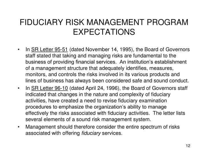 FIDUCIARY RISK MANAGEMENT PROGRAM EXPECTATIONS