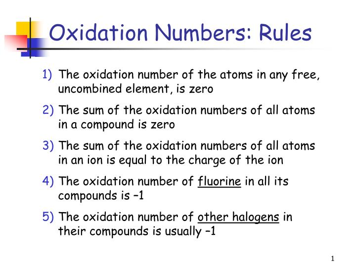 oxidation numbers rules n.