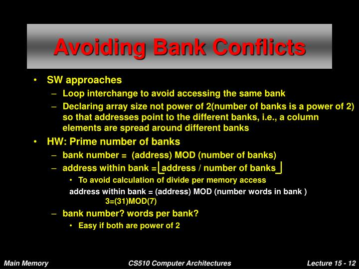 Avoiding Bank Conflicts