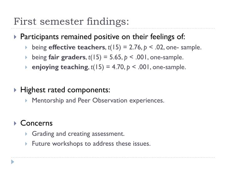 First semester findings: